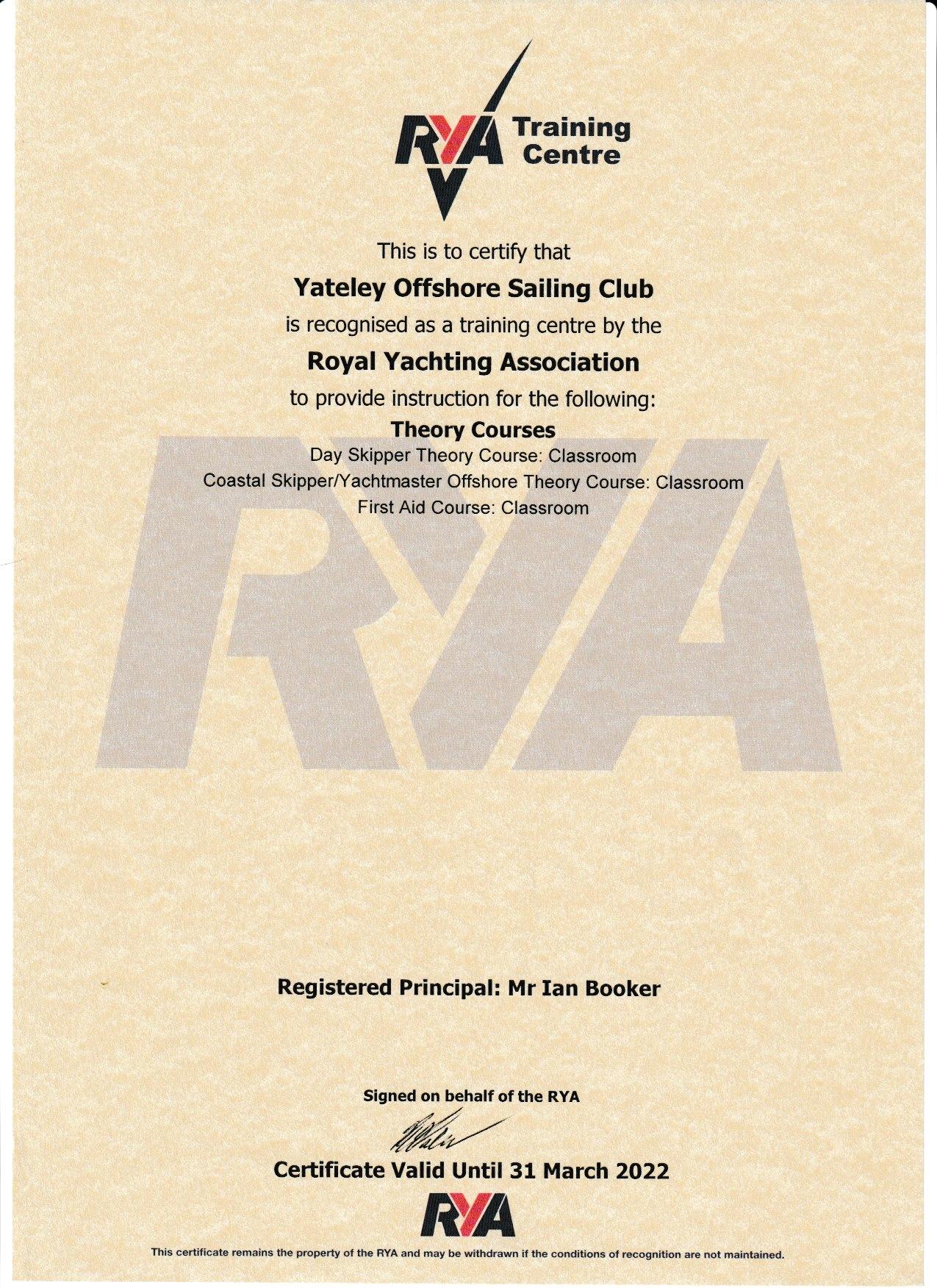 RYA Training Certificate